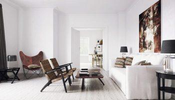 Варианты оформление дизайна квартиры белыми стенами
