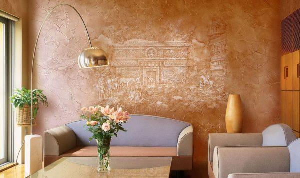 Декор стен декоративной штукатуркой