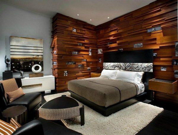 Отделка стены деревом в спальне
