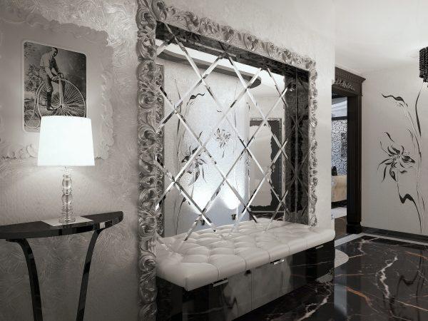 Зеркальная пленка на стене