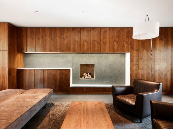 Деревянные панели в интерьере модерн