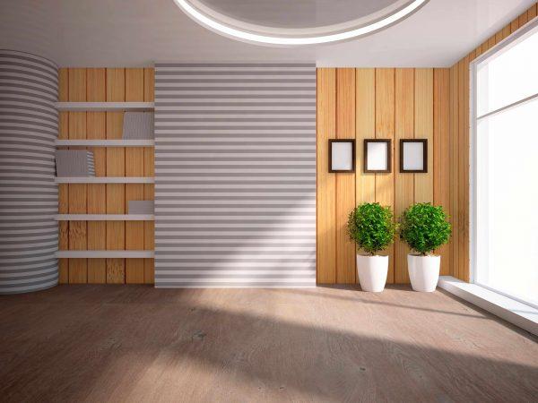 Деревянные панели в комнате