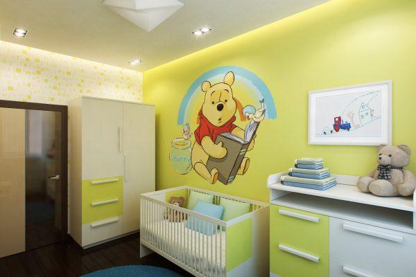 Крашенная стена в детской