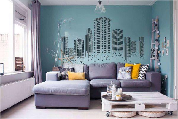 Крашенные стены с рисунком