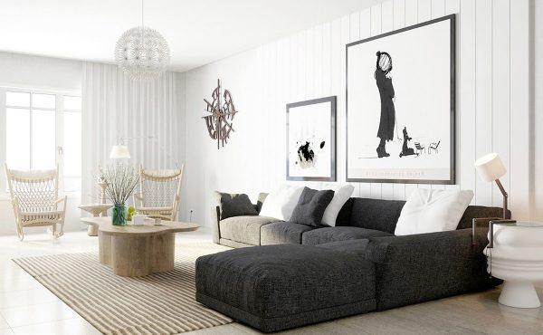 Черно-белые постеры в интерьере