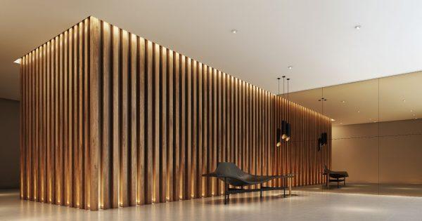 Деревянные рейки с подсветкой