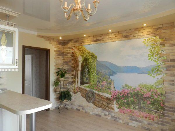 Интерьер кухни с фреской