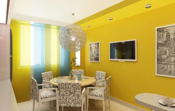 Интерьер кухни с яркими стенами