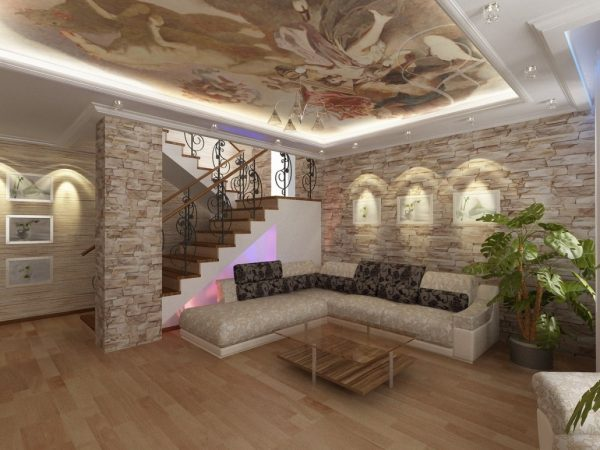 Интерьер с декоративным камнем