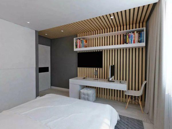 Интерьер с деревянными рейками