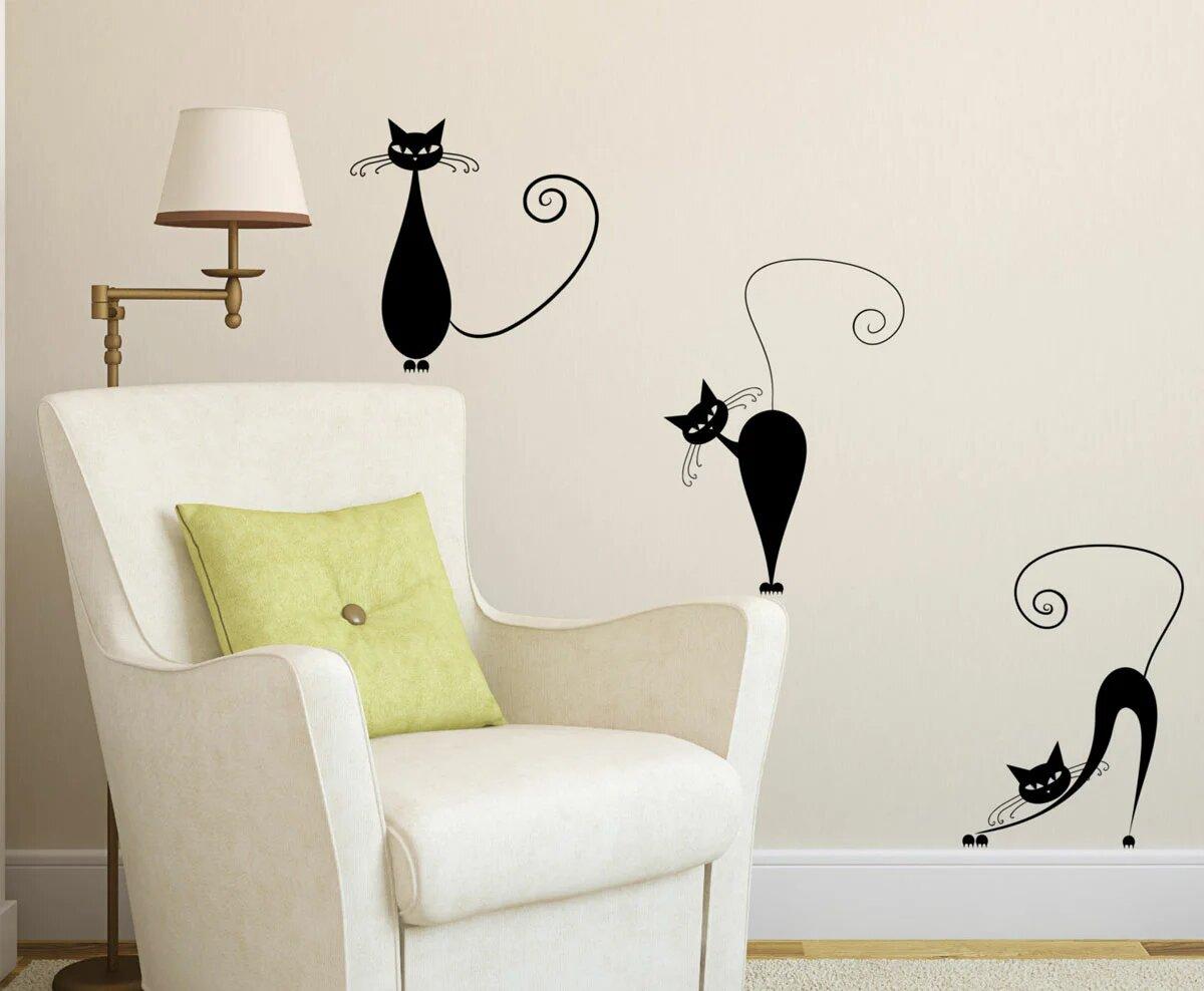 Картинка кота на стене