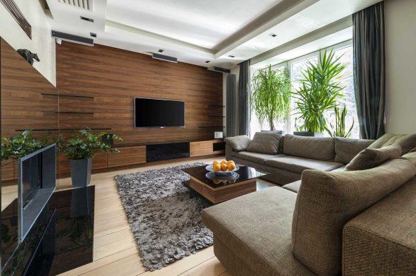 Фото ламината в гостиной