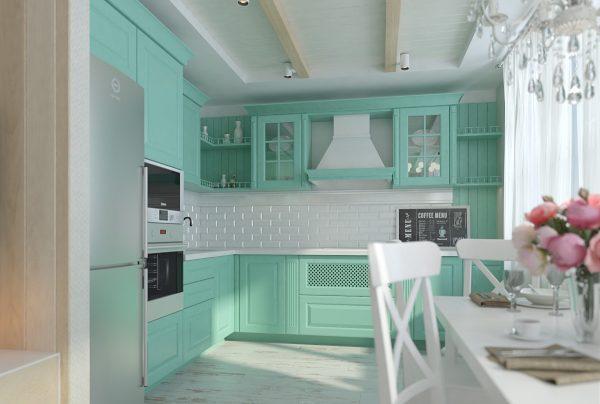 Мятный цвет на кухне