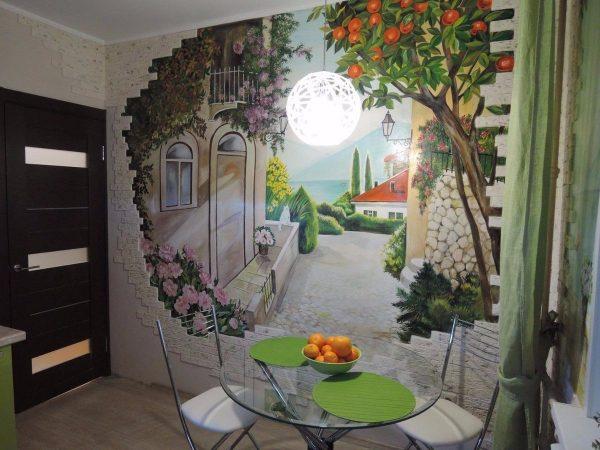 Фото росписи стен на кухне