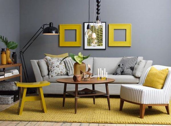 Серый и желтый цвет в интерьере