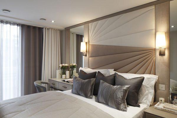 Тканевые панели в спальне