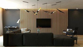 Варианты оформления интерьера стены деревянными рейками
