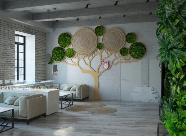 Декоративное дерево на стене