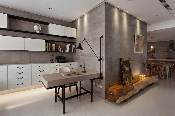 Интерьер с бетонными стенами