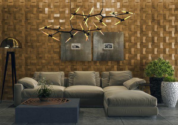Деревянные 3Д панели на стене