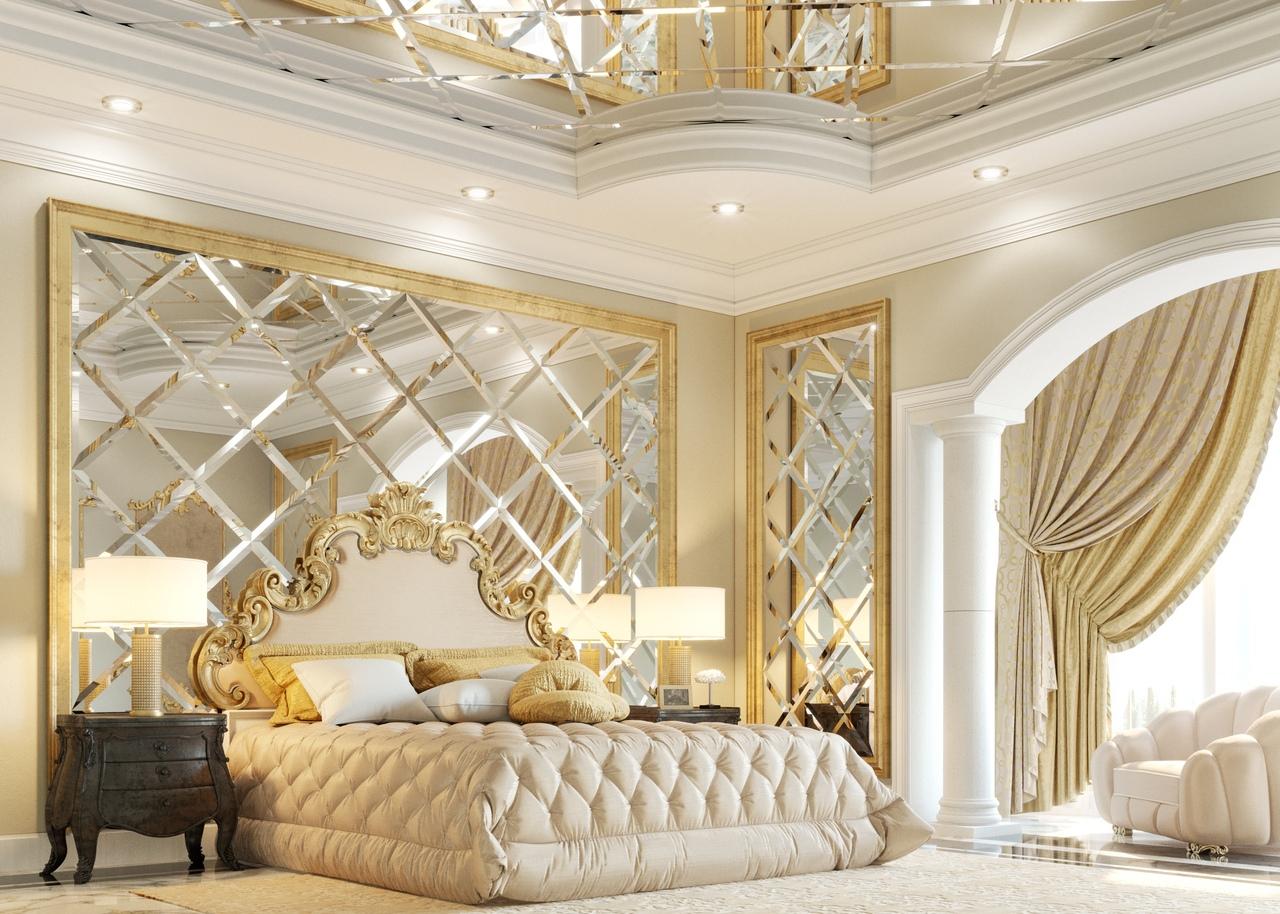 фото спальни с зеркальными панно фото стиле