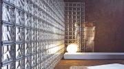 Стена из стеклянных блоков в квартире