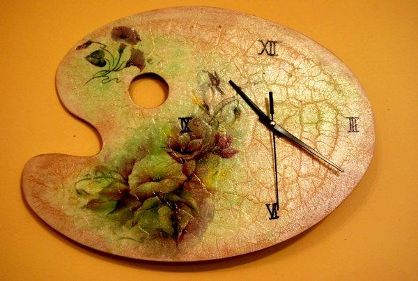 часы в стиле декупаж