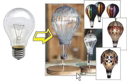 воздушный шар из перегоревшей лампочки