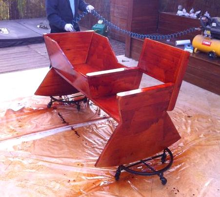 покраска кресла качалки с колыбелью