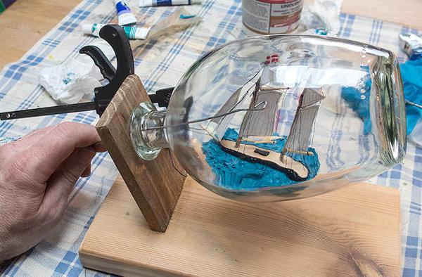 установка корабля в бутылке