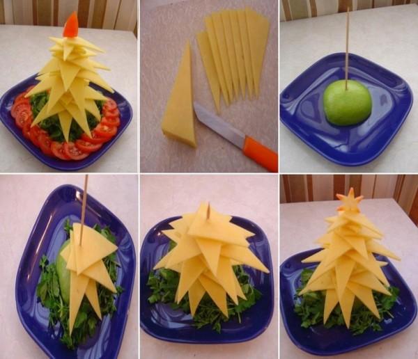 Новогодняя елка из сыра