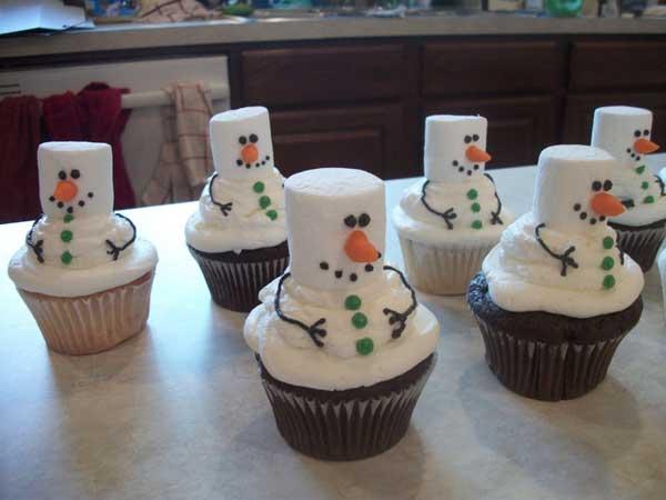 Снеговик из кекса
