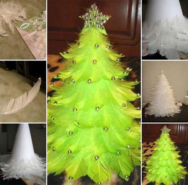 новогодняя елка из перьев своими руками