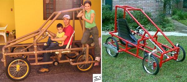 Детский автомобиль из пластиковых труб