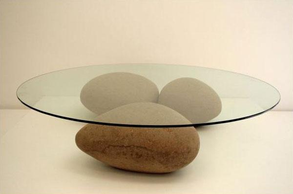 журнальный стол из камней и стекла своими руками