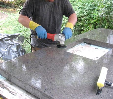 шлифовка бетонной столешницы