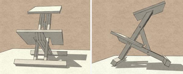 3D модель коленного стула